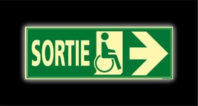 Signalétique sortie handicapes droite