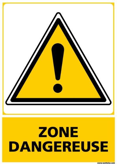 Signalétique zone dangereuse