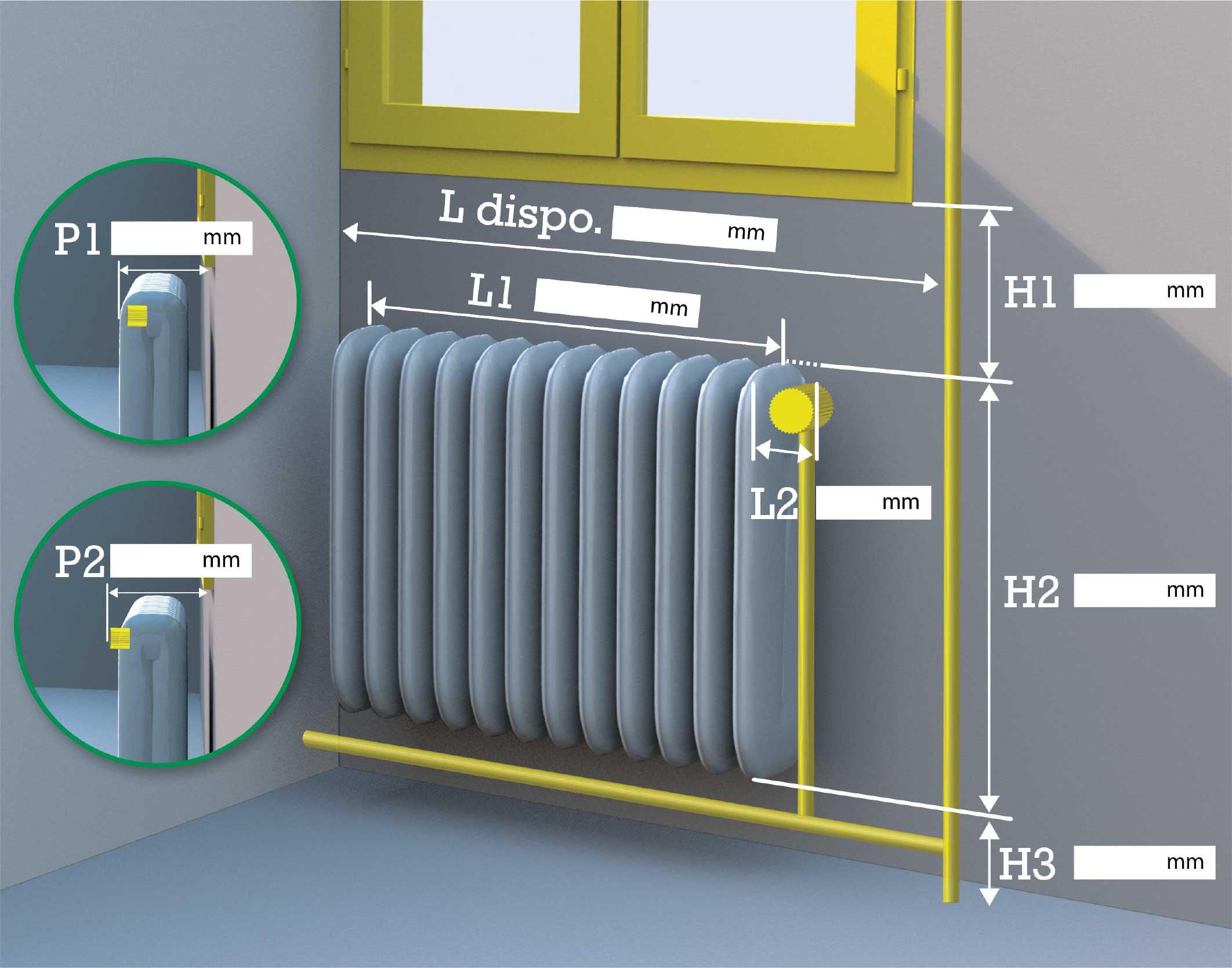 Prise de cotes protège radiateur
